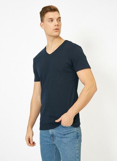 Koton Bisiklet Yaka T-Shirt Lacivert